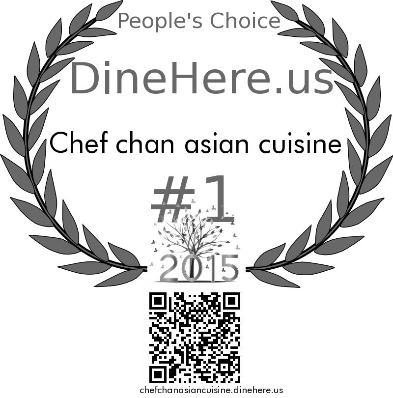 Chef chan asian cuisine DineHere.us 2015 Award Winner