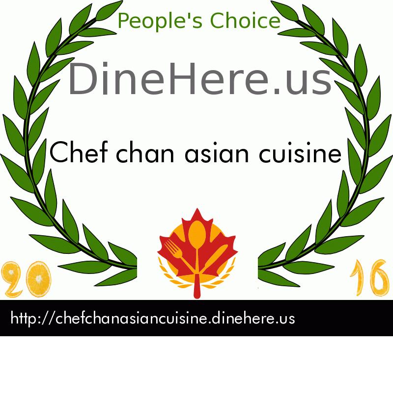 Chef chan asian cuisine DineHere.us 2016 Award Winner