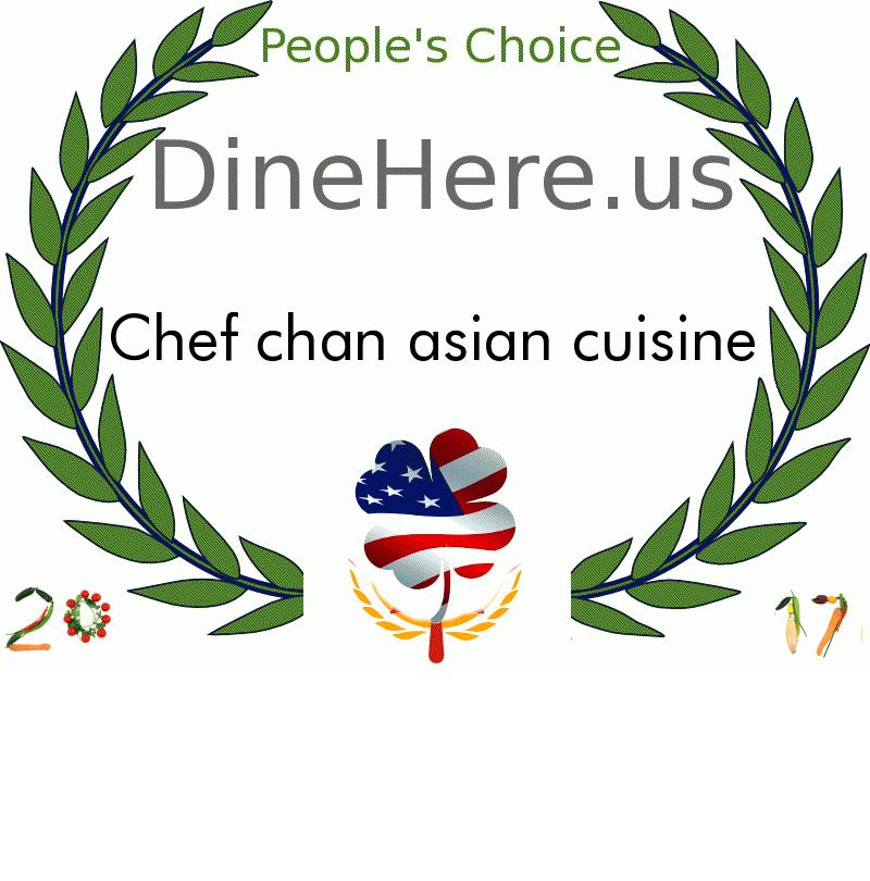 Chef chan asian cuisine DineHere.us 2017 Award Winner